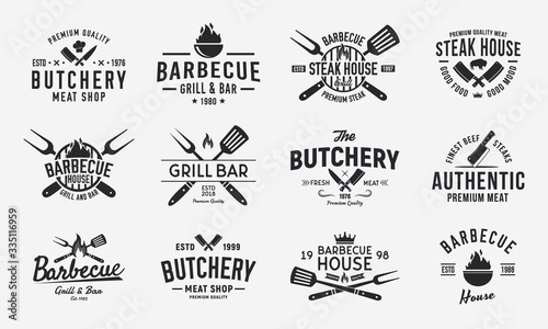 Vintage logo set for Meat Restaurants Fototapete