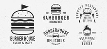 Vector Burger Logo Set. 5 Vint...