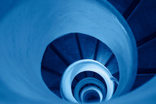 Old Stairs In Spiral Staircase Toned In Classic Blue - Color Of The Year 2020