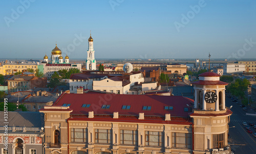 Photo View of the roofs of Rostov-on-Don in the evening.