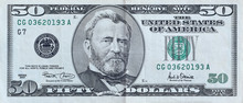 Portrait Of US President Ulysses Simpson Grant On 50 Dollars Banknote Closeup Macro Fragment. United States Fifty Dollars Money Bill
