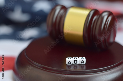 Obraz na plátně Justice mallet and ADA acronym. Americans with disabilities act