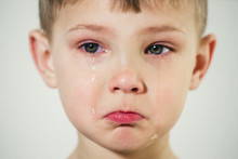 Little Boy With Tears On His Face Close-up
