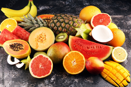 Fototapeta owoce   tropical-fruits-background-many-colorful-ripe-fresh-tropical-exotic-fruits