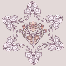 Boho Feminine Deer Head Mandala. Antlers Stag Animal Motif. Mystic Tattoo Embroidery Stitch Floral. Isolated Girly Horned Animal Totem. Hand Drawn Boho Kids Fashion, Doodle Woodland Graphic Design.