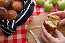 Muffin Being Broken Open By Tw...
