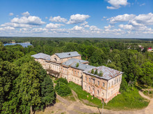 Destroyed Old Manor Near The Village Of Aleksino, Smolensk Region, Russia, Aerial Photography