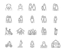 Big Set Et Of Icons Of Aged Pe...