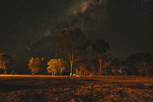 Landscape With The Milky Way In The Sky In The Dark At Night Amazing Lights Stars