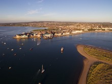 Aerial View Of Exmouth In Devon, UK.