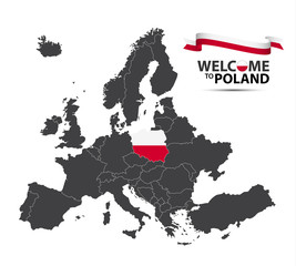 Panel Szklany Do szkoły Illustration of a map of Europe with the state of Poland in the appearance of the Polish flag and Polish ribbon isolated on a white background