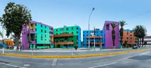 Colorful Building Blocks In Chucuito Neighborhood In Callao Region, Peru