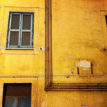 Back Alley Wall And Window In The Centre Of Rome, Italy