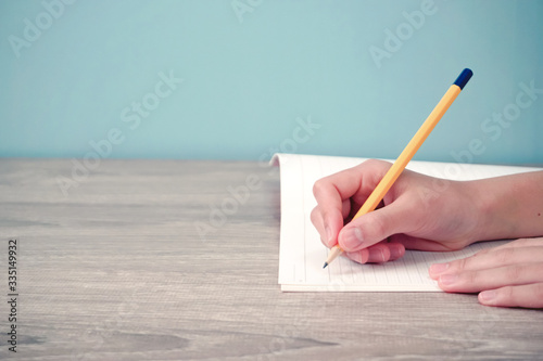 Fotomural Person writing something in notebook