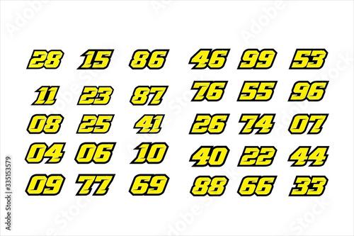 Fotografie, Obraz Set of racing number, start racing number, sport race number with halftone dots