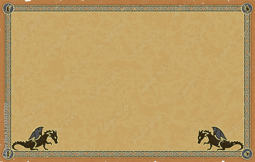 Fototapeta Ornate vector medieval frame with Celtic knots, dragon silhouettes and small fantasy character icons in the corners (elf, orc, magician and goblin) on a worn beige paper parchment background.