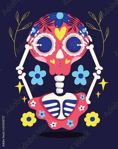 day of the dead, skeleton with hands in head and flowers decoration traditional Fotobehang