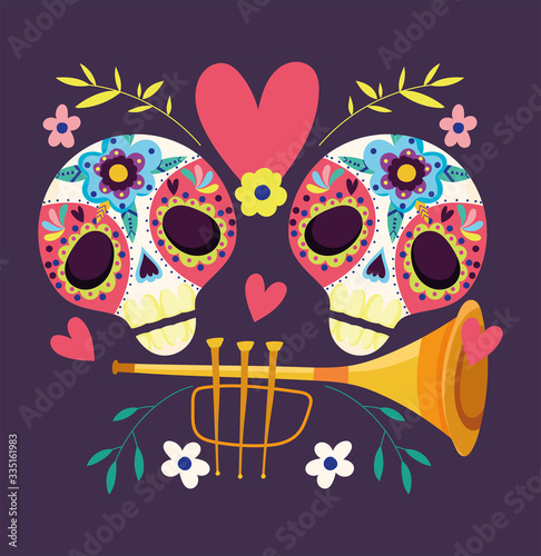 Fotografering day of the dead, catrinas with trumpet flowers decoration traditional celebratio