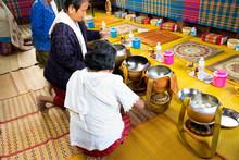 Thai People Put Food Offerings...