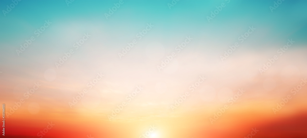 Fototapeta Blur pastels gradient sunset background on soft nature sunrise peaceful morning beach outdoor. heavenly mind view at a resort deck touching sunshine, sky summer clouds.