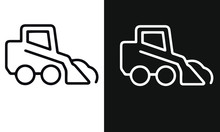 Snow Removal Thin Line Icons Vector Design Black And White