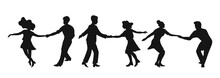 Set Of Silhouettes Couple Danc...