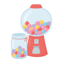 Happy Day, Gumball Machine Caramels Cartoon
