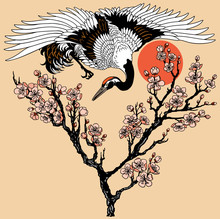 Japanese Crane With Branch Of Blooming Sakura And Red Sun. Flying Bird And Cherry Tree Flowers Blossom. Tattoo. Vector Illustration