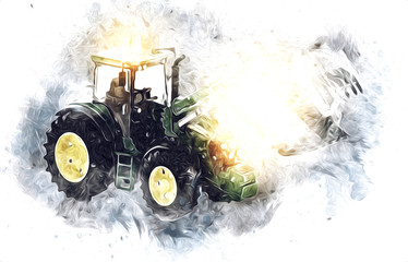 Agricultural tractor illustration color art painting