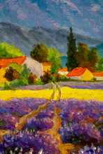 Vertical Painting Lavender Landscape At Summer Sunset, Lavender Flowers Are In Bloom, A Golden Wheat Field With Old Houses Surrounded By Trees Cypress With Mountains In Background Art.