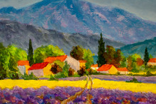 France. Provence Landscape. Panorama Rural Countryside In Spring Or Summer. Lavender Field, Mountains And Houses. Oil Painting Modern Illustration