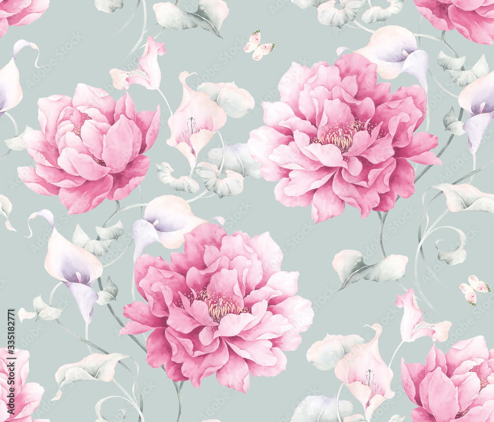 Oriental style painting, Ink Painting of  Peony,calla lily, seamless pattern, can be used for  floral poster, wrapping paper pattern , invite. Decorative greeting card or invitation design background