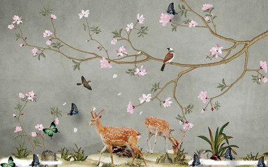 Fototapeta Do sypialni Deer in the meadow, butterflies, birds, trees with pink flowers on a gray background