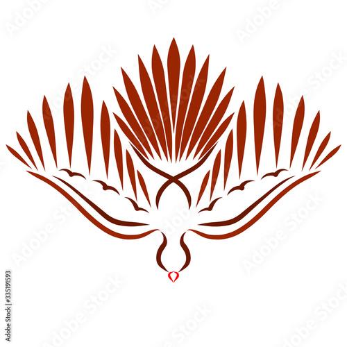 Obraz na plátne bird flying down, spread its wings, brown dove