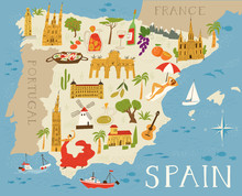 Vector Map Of Spain With Cultu...