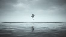 Floating Mysterious Woman On Black Sand Surrounded By Water With A Veil An Shrink Wrapped Futuristic Haute Couture Dress Abstract 3d Illustration 3d Render