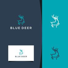 Uniqe Blue Deer Logo. Premium Vector Design Template. Minimalist Logo Design Inspiration. Premium Vector