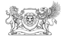 A Crest Coat Of Arms Family Shield Seal Featuring Griffin And Lions