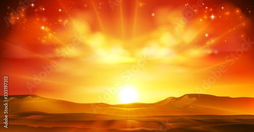 Fototapeta Sky sun sunrise sunset background landscape illustration obraz
