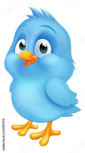A cute bluebird blue baby bird cartoon mascot illustration Fototapet