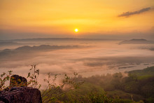 Sunrise And Foggy Cloud Landsc...