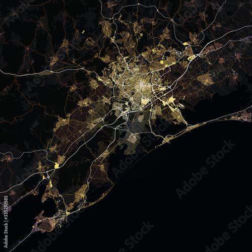 Obraz na plátně Map Montpellier city. France