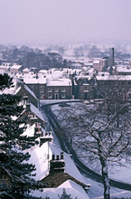 Snow Covered Rooftops In Masham Market Place, North Yorkshire, England, United Kingdom