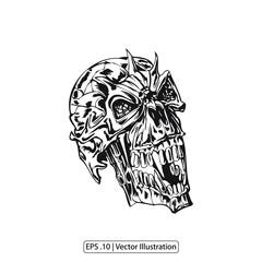 sketch art skull tattoo and t shirt design illustration vector.