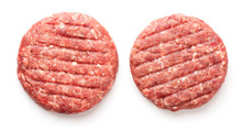 Raw Minced Beef Meat For Burgers Isolated On White Background