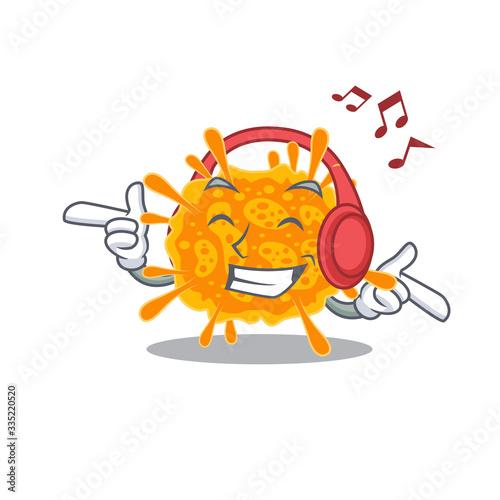 Photo nobecovirus Cartoon design in concept listening music