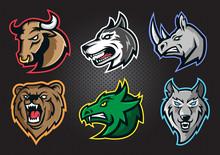 Modern Professional Logo Set With Bull, Dog, Rhino, Bear, Dragon, Wolf Head , For A Sport Team