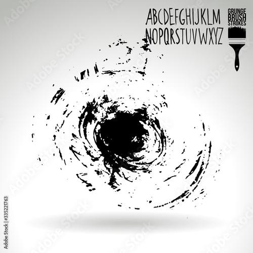 Fototapeta Black brush stroke and texture. Grunge vector abstract hand - painted element. Underline and border design. obraz na płótnie