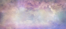 Heavens Above Celestial Concept Background Banner - Beautiful Blue Pink Purple Green Lilac Light Filled Heavenly Ethereal Cloud Scape Depicting The Heavens Above