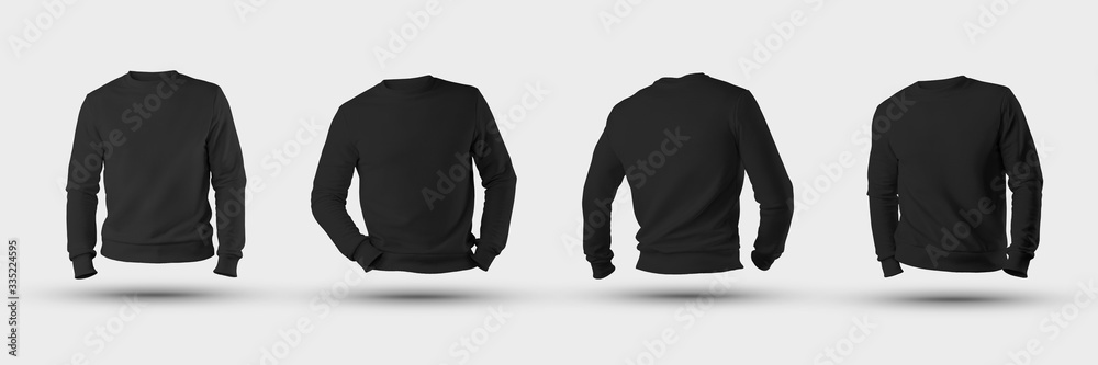Fototapeta Mockup blank male sweatshirt 3D rendering, front, back, isolated on a white background.